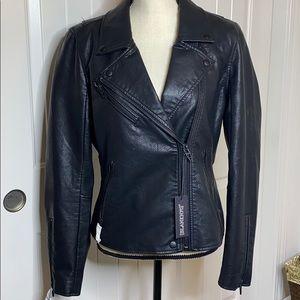Vegan leather Moto jacket onyx size large